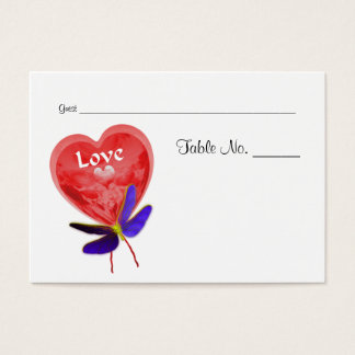 Love Red Heart Wedding Table Place Cards
