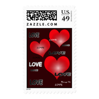 Love Red Hearts Postage