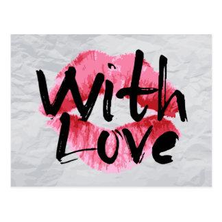 Love Red Pink Lipstick Kiss Love Wrinkle Paper Postcard