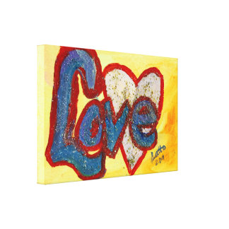 Love Red Rimmed Heart Painting Canvas Print