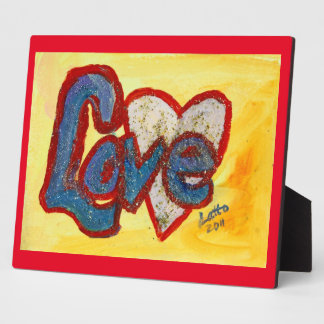 Love Red Rimmed Heart Painting Poem Plaque