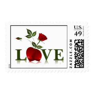 LOVE - RED ROSE AND HEART POSTAGE