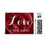 Love Red Rose Wedding Postage Stamp