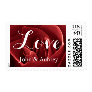 Love Red Rose Wedding Postage Stamp