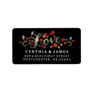 LOVE Red Roses Black Back Matching Wedding Address