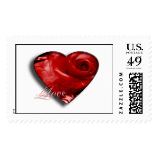 Love Red Roses Wedding Heart RSVP Invite Save Date Postage