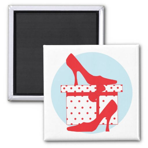 Love red shoes with pretty gift box, magnet, gift 2 inch square magnet