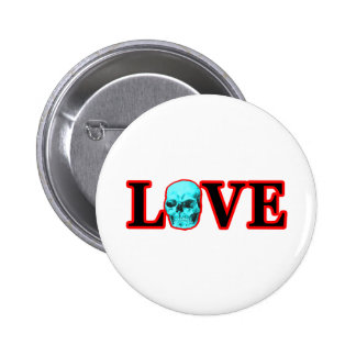 Love Red Skull Cyan The MUSEUM Zazzle Gifts Button