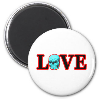 Love Red Skull Cyan The MUSEUM Zazzle Gifts Fridge Magnet