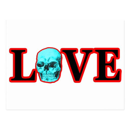 Love Red Skull Cyan The MUSEUM Zazzle Gifts Postcard