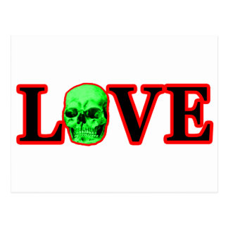 Love Red Skull Green The MUSEUM Zazzle Gifts Postcard