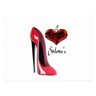 Love Red Stiletto Shoe and 3D Heart Postcards