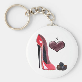 Love Red Stiletto Shoe and Chocolates Art Keychains