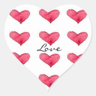 Love Red Watercolor Hearts Heart Sticker