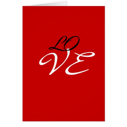 Love Red White Black Color Greeting Card