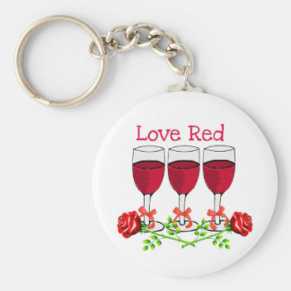 LOVE RED WINE AND ROSES BASIC ROUND BUTTON KEYCHAIN