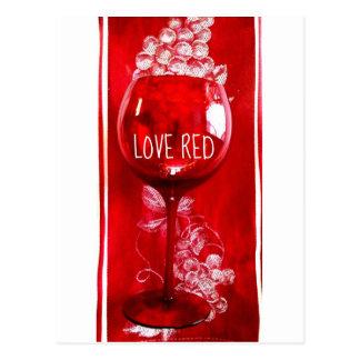 LOVE RED WINE GLASS PRINT POSTCARD