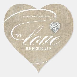 Love Referrals Sticker Jewelry Heart Linen