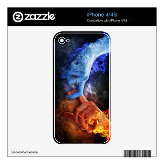 Love Relationships Fire Smoke Hands Touching Decal For The iPhone 4S