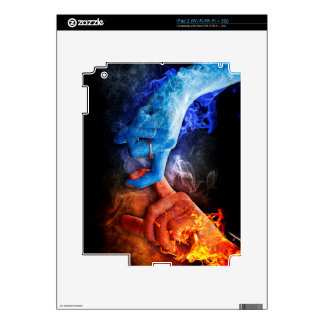 Love Relationships Fire Smoke Hands Touching Decals For The iPad 2