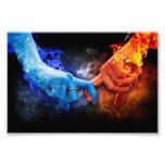 Love Relationships Fire Smoke Hands Touching Photo Print