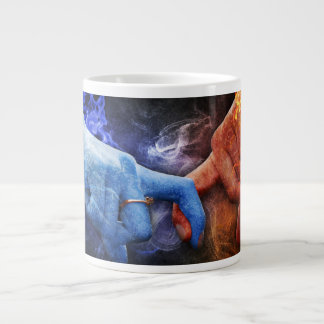 Love Relationships Hands Touching Fire Smoke Giant Coffee Mug