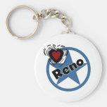Love Reno Basic Round Button Keychain