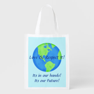Love Respect Earth Globe Its Our Future Blue Grocery Bags