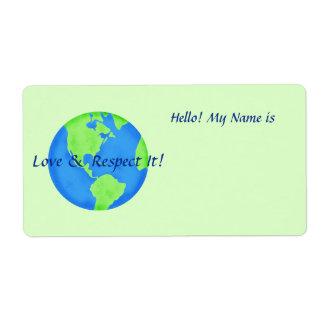 Love Respect Earth Globe Name Tag Green Sticker Label