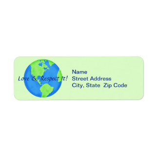 Love Respect Earth Globe Return Address Label