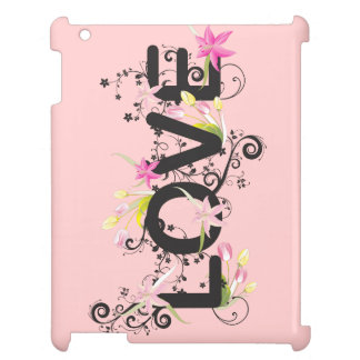 Love-Retro Text And Flowers Design iPad Cover