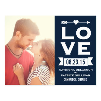 LOVE Retro Typography | Save the Date Postcard