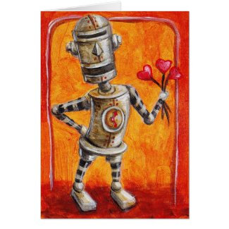 Love Robot with Flowers Cards