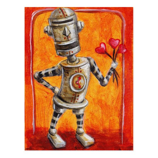 Love Robot with Flowers Postcard