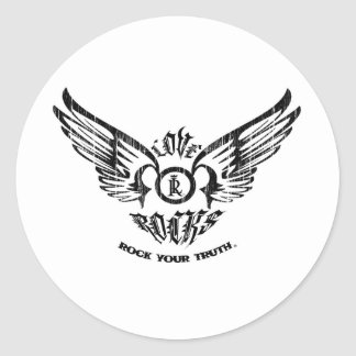 LOVE ROCKS Spreading Wings Classic Round Sticker