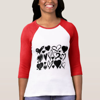 Love, Romance, Hearts - Black White T-Shirt