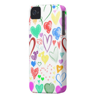 Love, Romance, Hearts - Red Blue Pink Green iPhone 4 Case