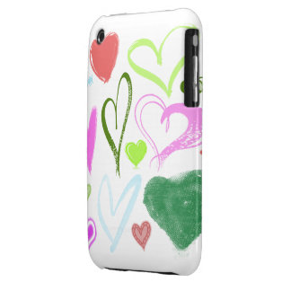 Love, Romance, Hearts - Red Blue Pink Green iPhone 3 Case