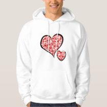 Love, Romance, Hearts - Red White Hoodie