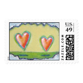 Love romance hearts whimsical modern art postage