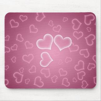 Love, Romance, Hearts - White Purple Pink Mouse Pad