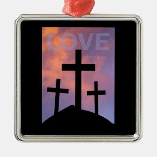 LOVE – Romans 5:8 Metal Ornament