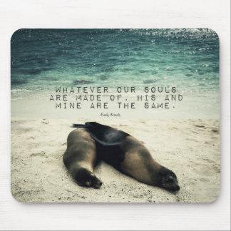 Love romantic couple quote beach Emily Bronte Mouse Pad