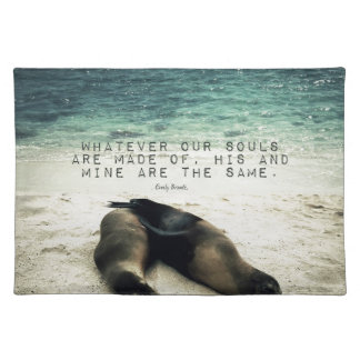 Love romantic couple quote beach Emily Bronte Placemat