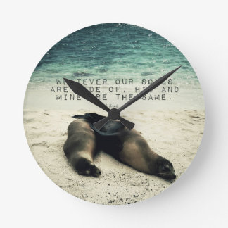 Love romantic couple quote beach Emily Bronte Round Clock