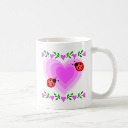 love romantic heart hearts lady bug Clip Art Holid Tazas