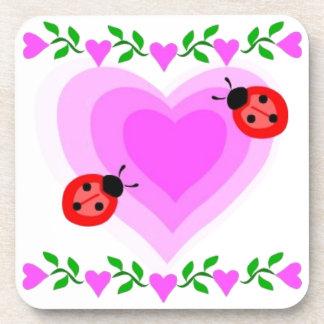 love romantic heart hearts lady bug Paper clip Art Coasters