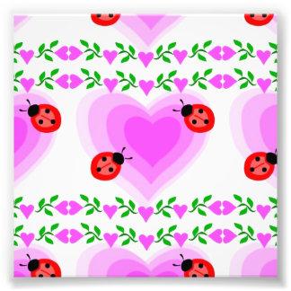 love romantic heart hearts lady bug Paper clip Art Photo Print