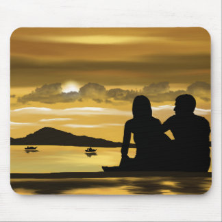 Love, romantic sunset on the beach mouse pad