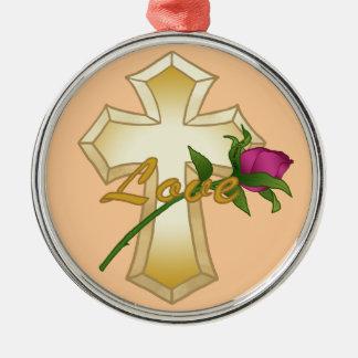 Love Rose Cross Premium Round Ornament